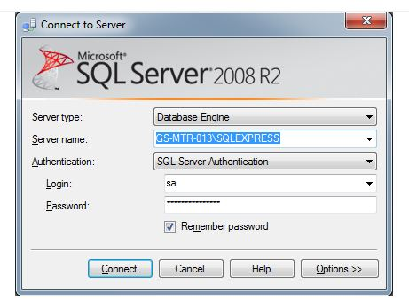 Connect to SQL Server Management Studio
