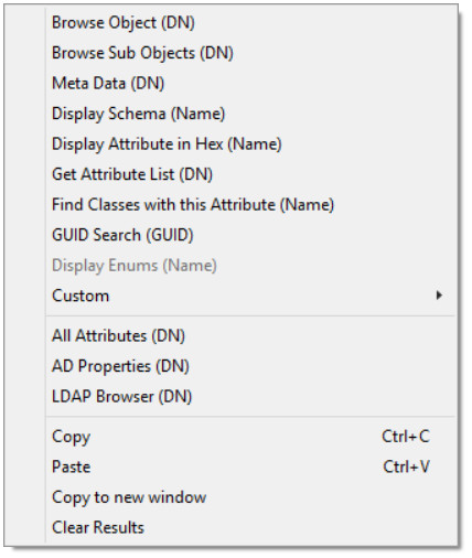 LDAP Context menu