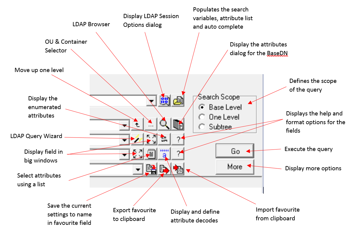 LDAP Search buttons