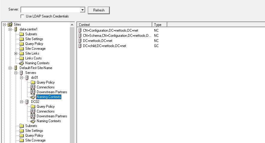 Site Browser - DC Naming Context