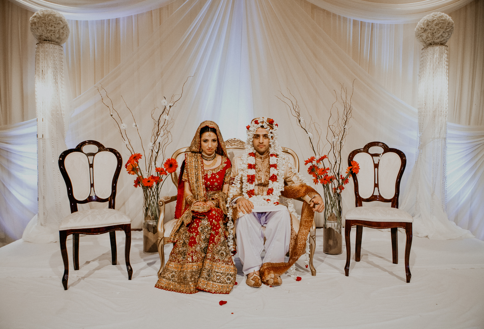 Portrait of bride and groom at Indian wedding ceremony