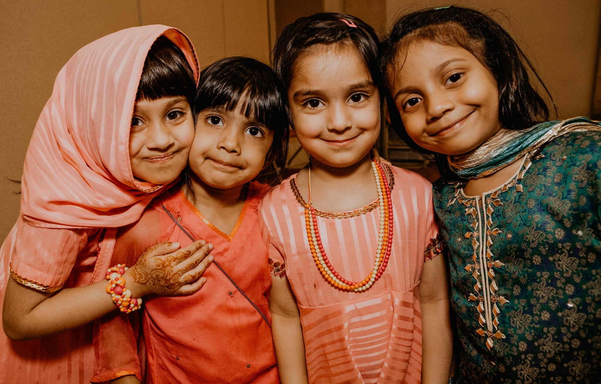 Candid photo of kids at Indian wedding Nikah