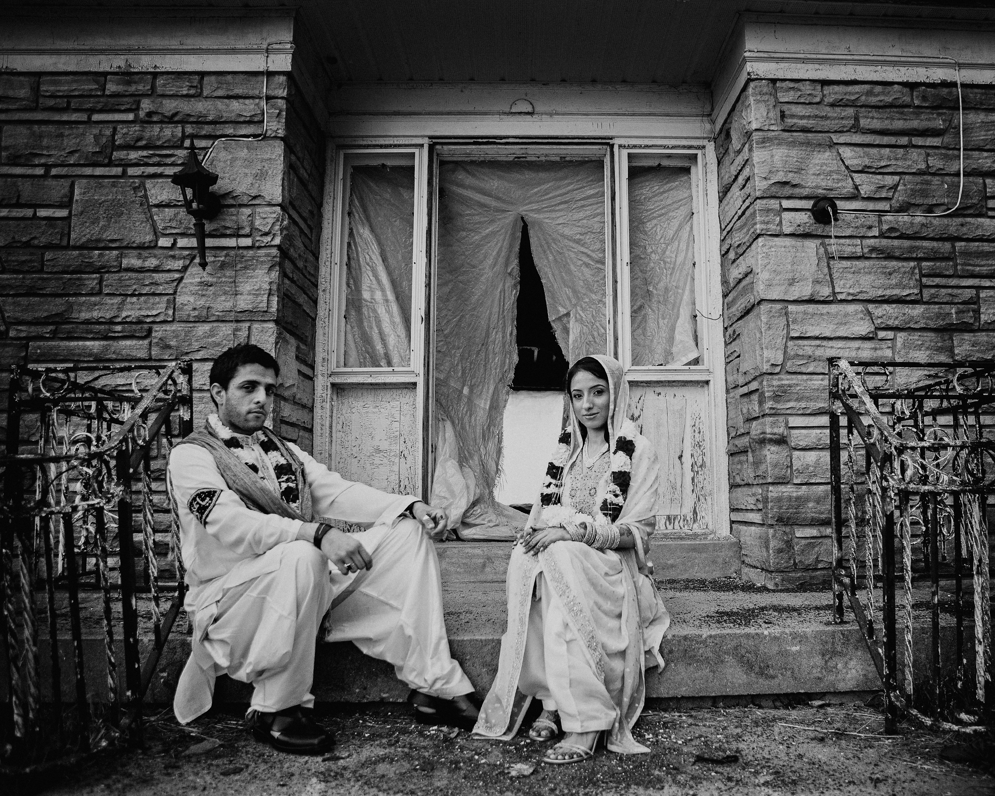 Bride and groom portrait Indian wedding photographer