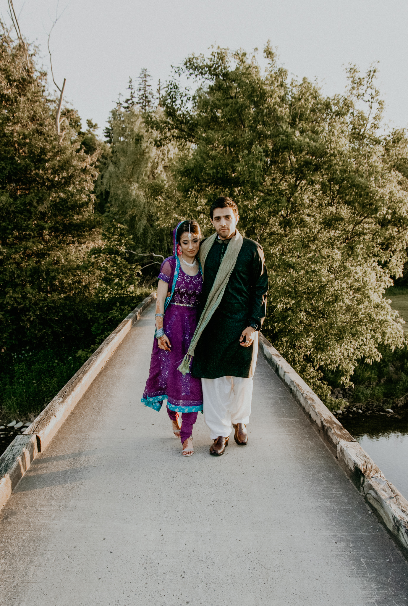 Bride and groom portrait at Indian wedding