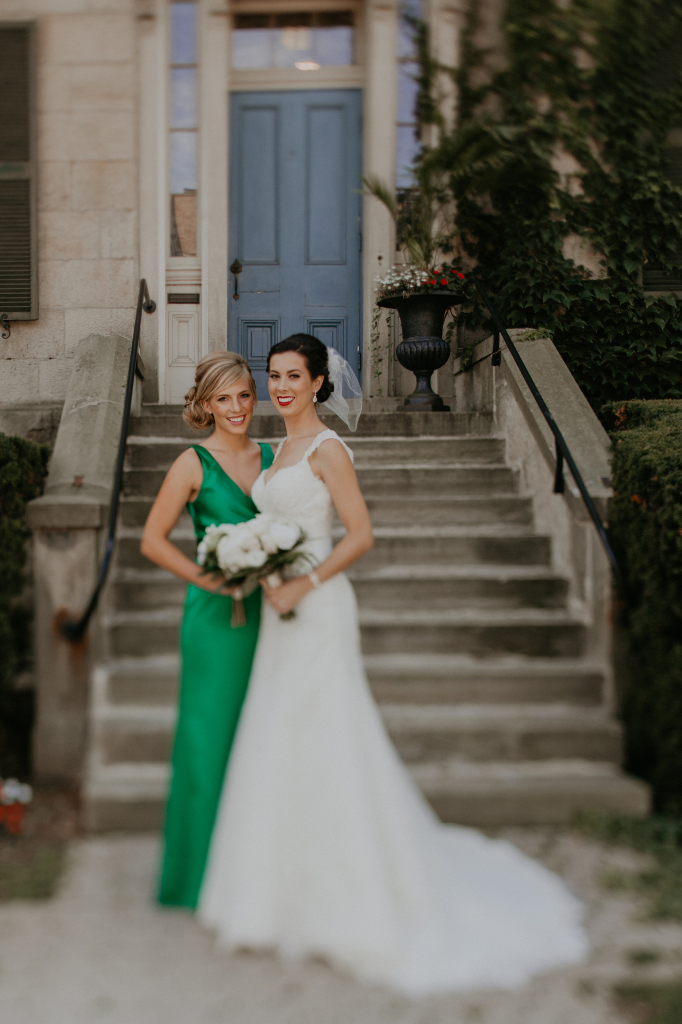 Portrait of bride and bridesmaid on wedding day