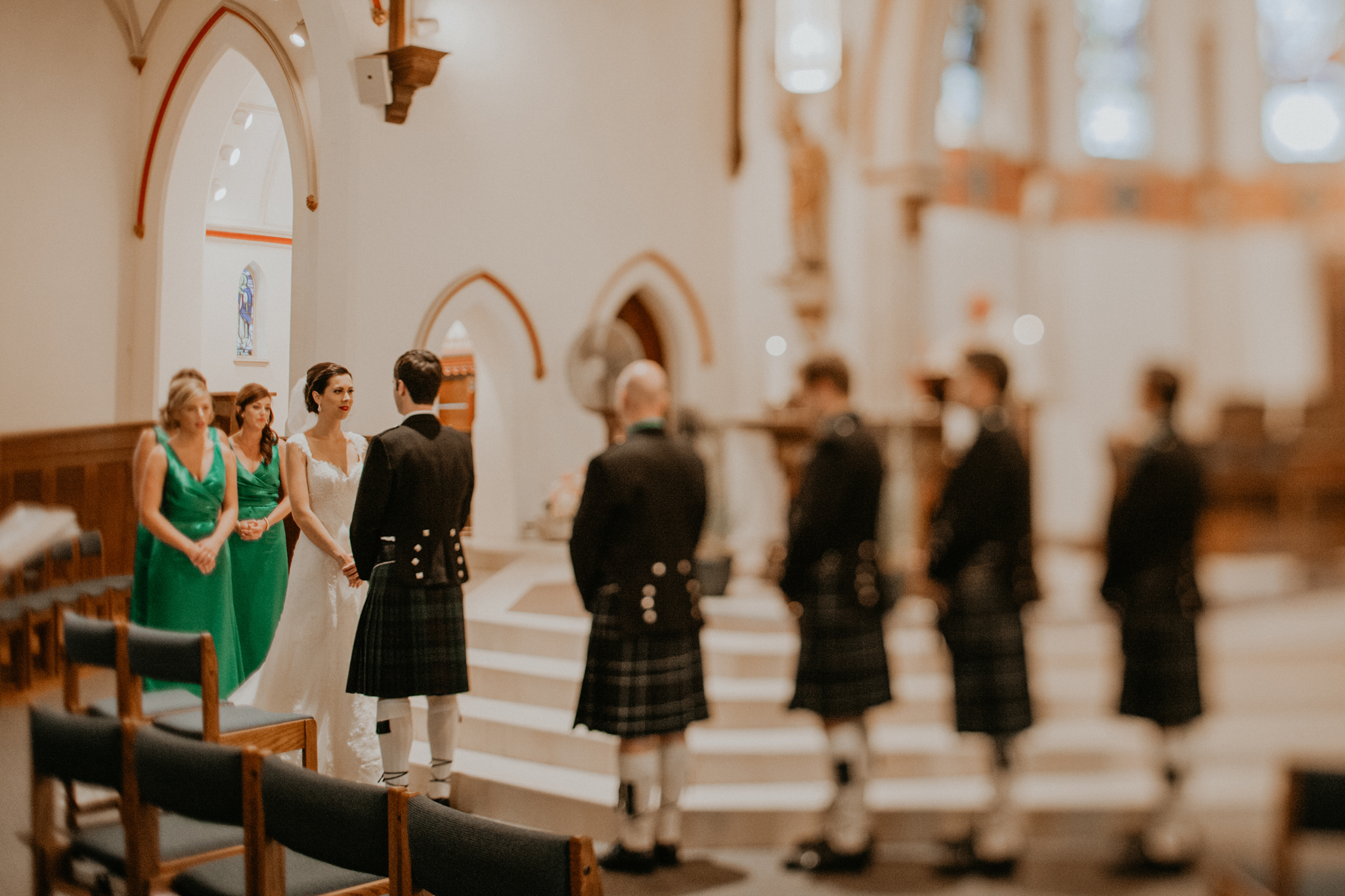 Wedding party in Scottish church wedding