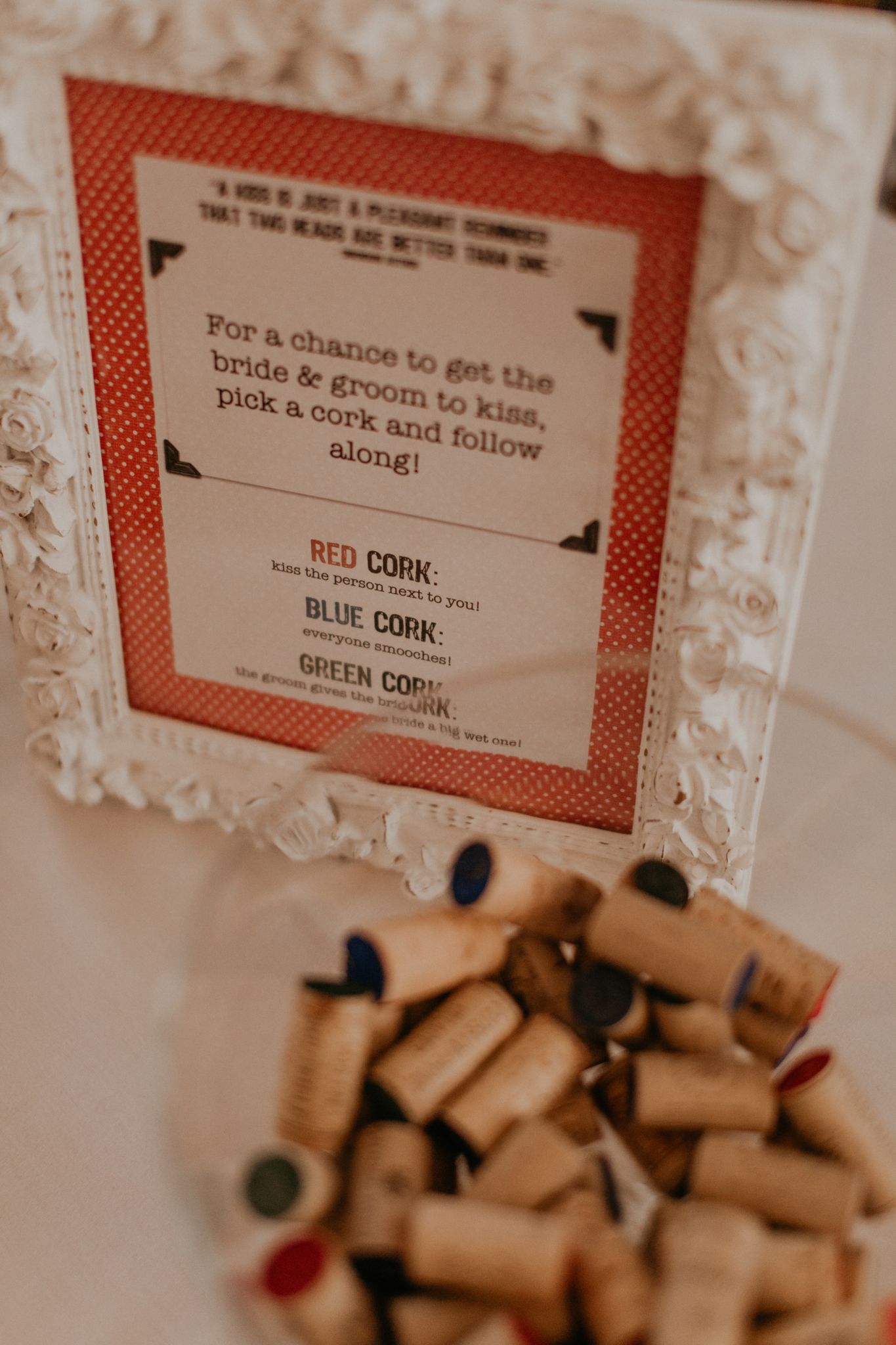 Wedding day details of wine corks and wedding game instructions