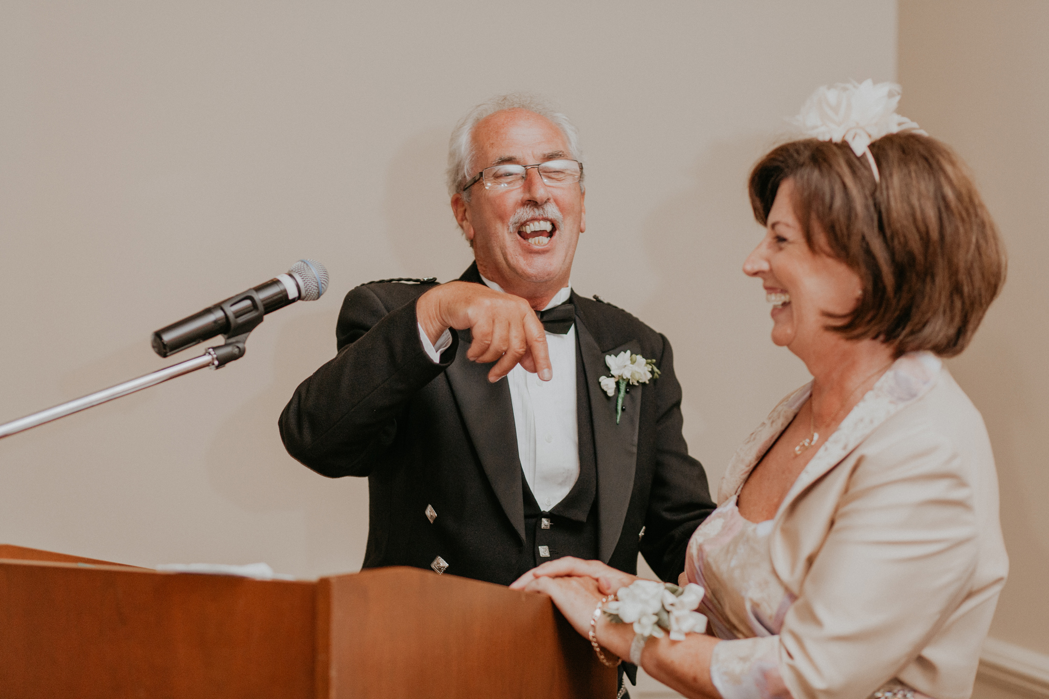 Funny wedding speeches candid documentary photo