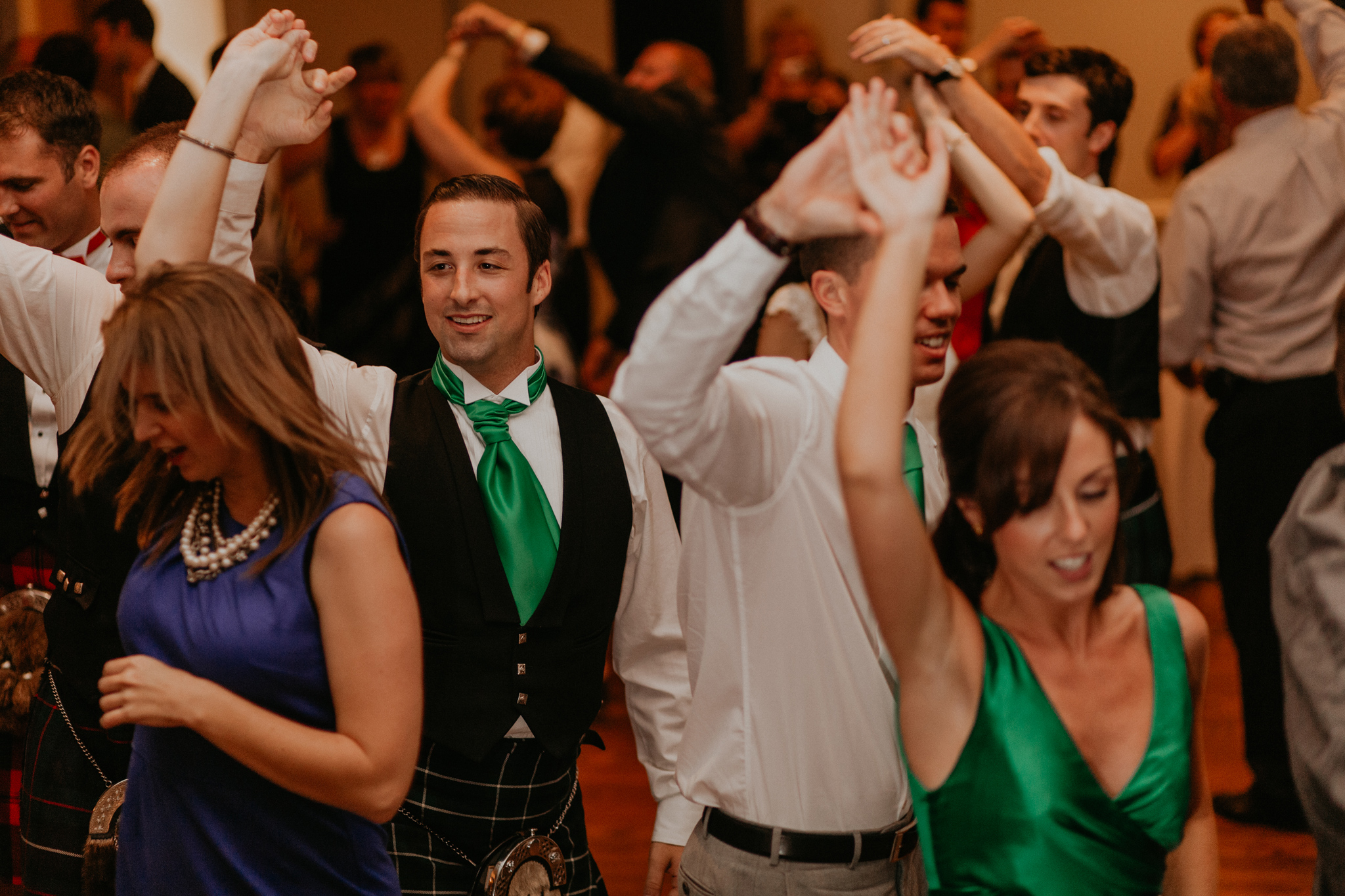 Guests dance at Scottish wedding reception