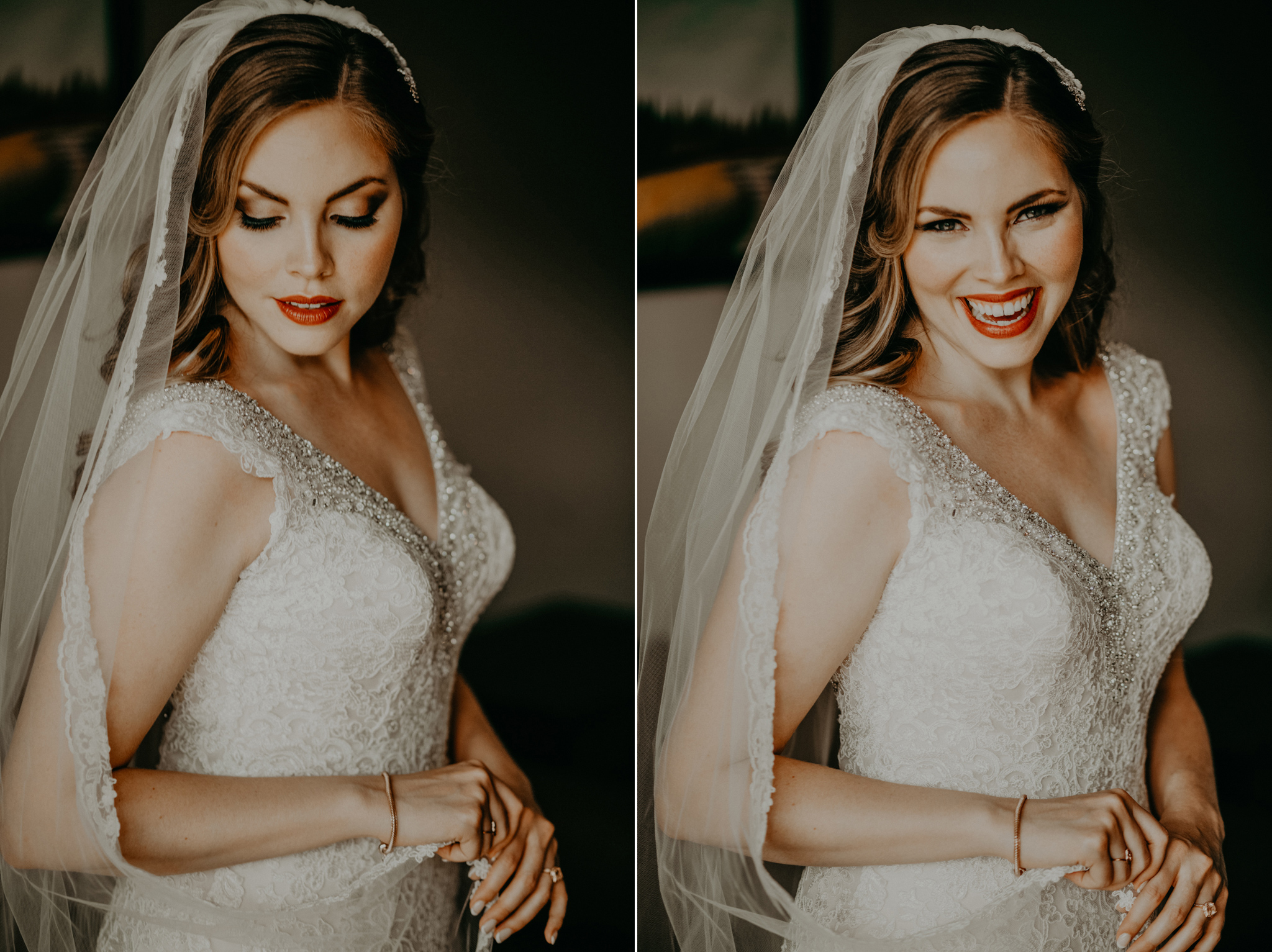 Portrait of bride in wedding dress at Blackstone Mountain Lodge destination wedding Canmore AB