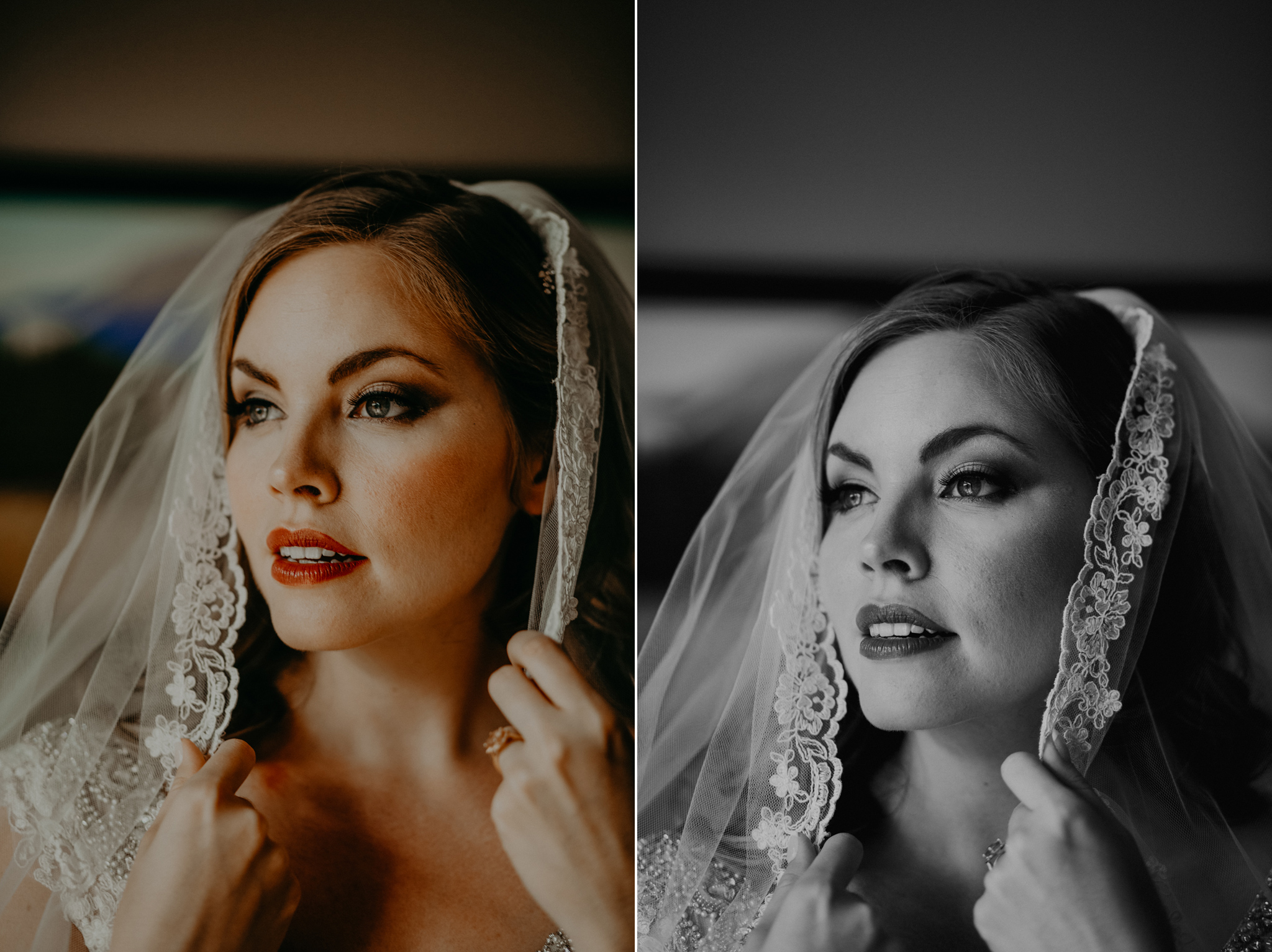 Portrait of bride in veil at Canmore AB Blackstone Mountain Lodge destination timeless romantic wedding photo