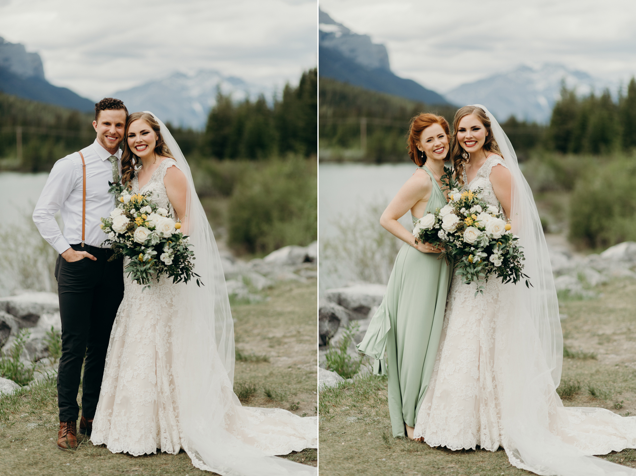 Bride and bridesmaid pose by Bow River Canmore AB smiling destination wedding photographer MN