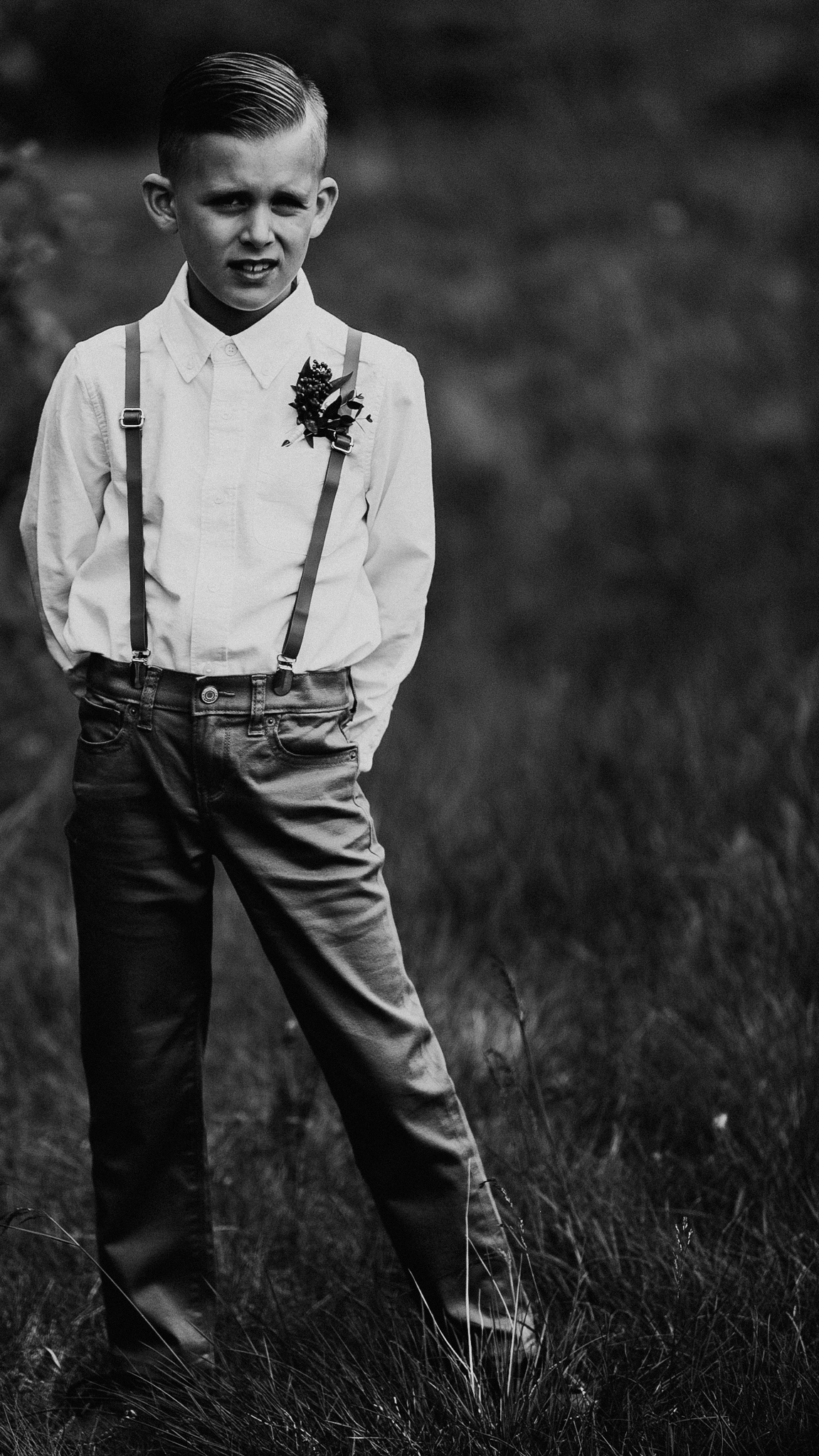 Portrait of ring bearer at wedding ceremony in Canmore AB Silvertip Resort