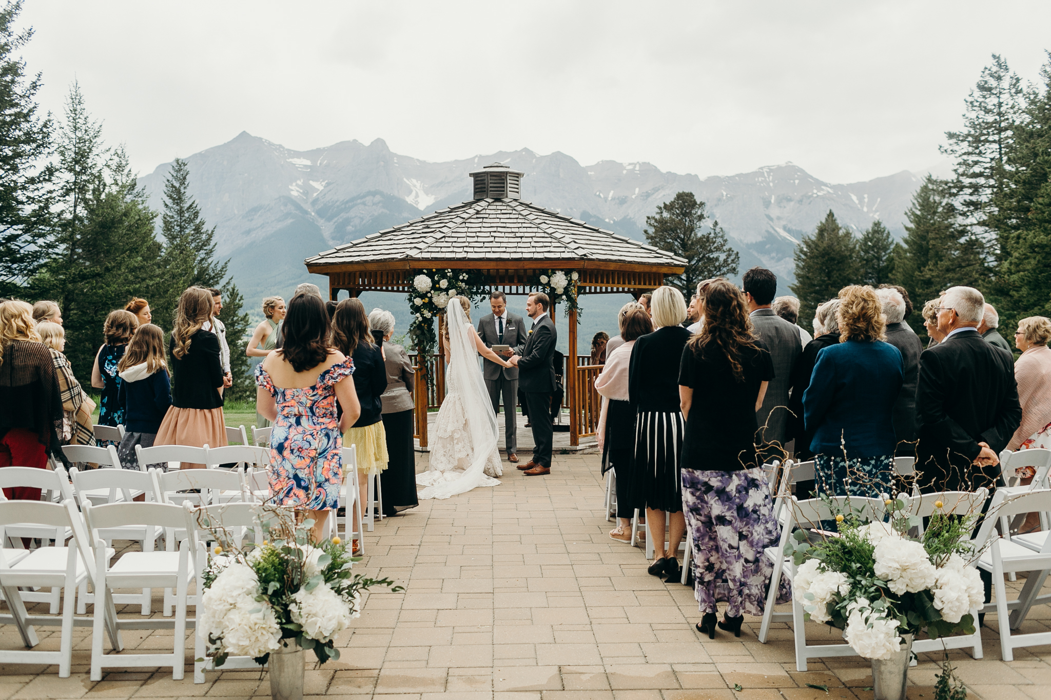 Wedding ceremony at Silvertip Resort Canmore Alberta