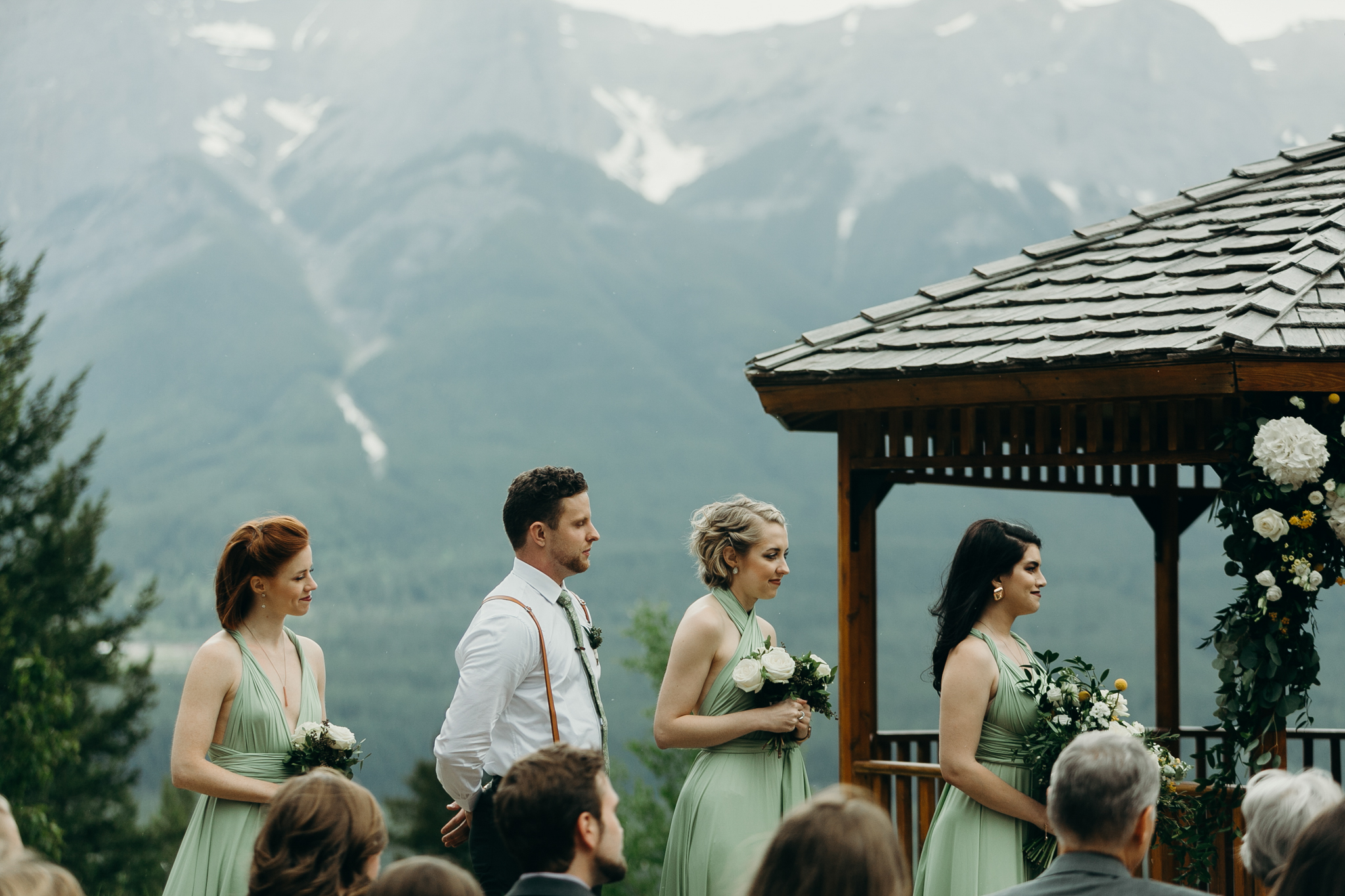 Wedding ceremony at Silvertip Resort gazebo Canmore Alberta