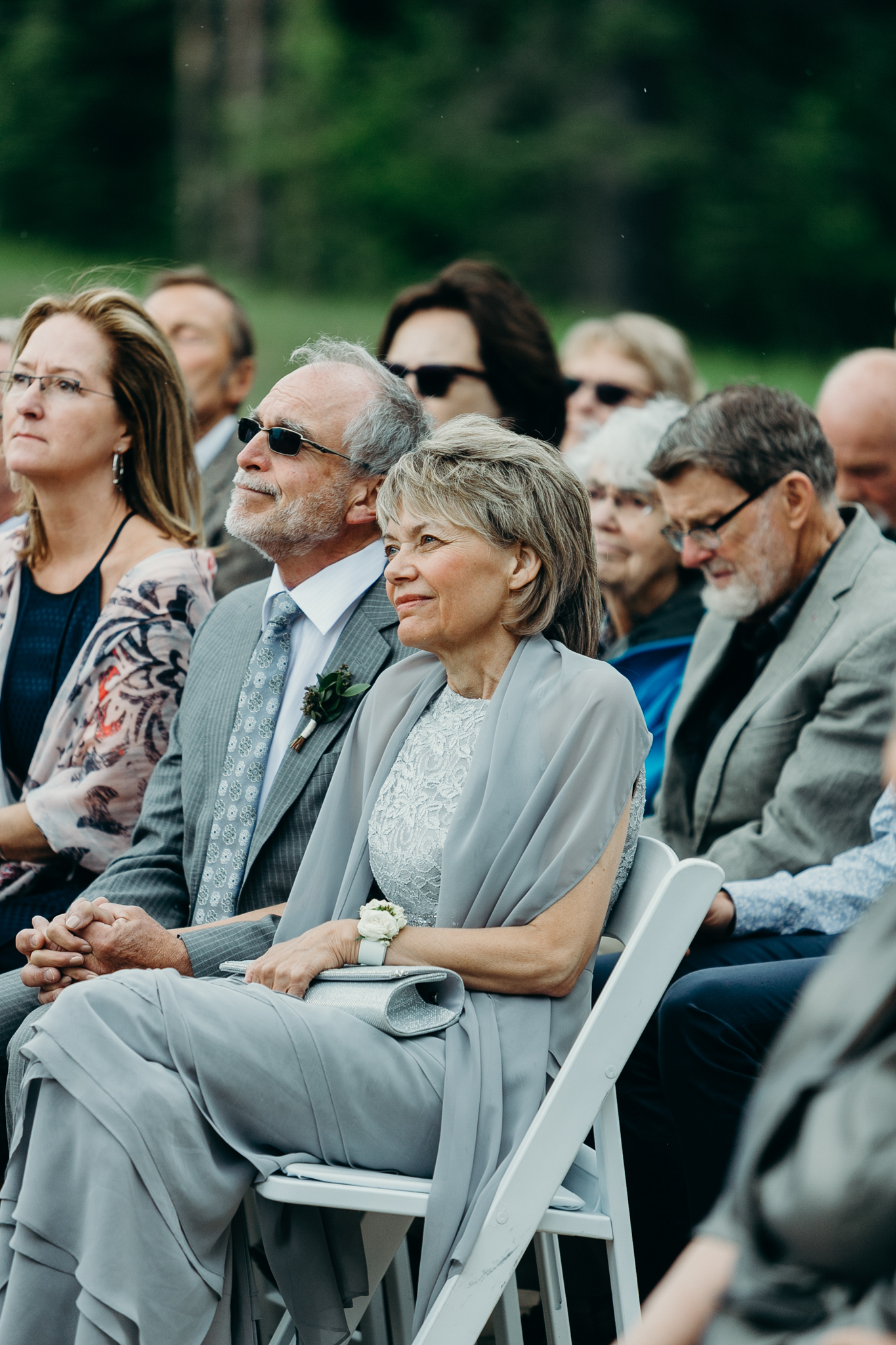 Mother and father of groom at Silvertip Resort wedding ceremony