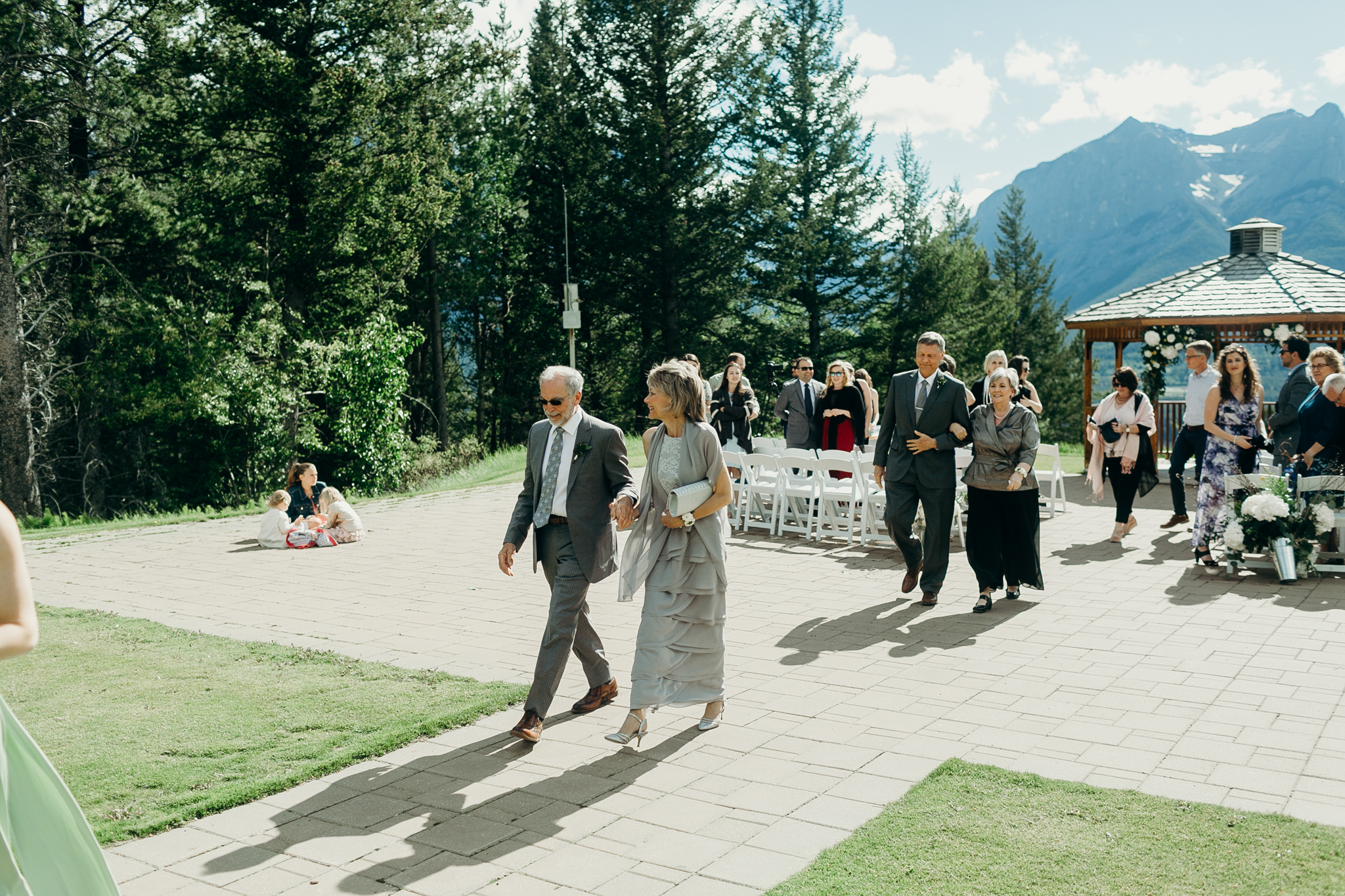 Wedding ceremony at Silvertip Resort rocky mountains Canmore AB destination wedding