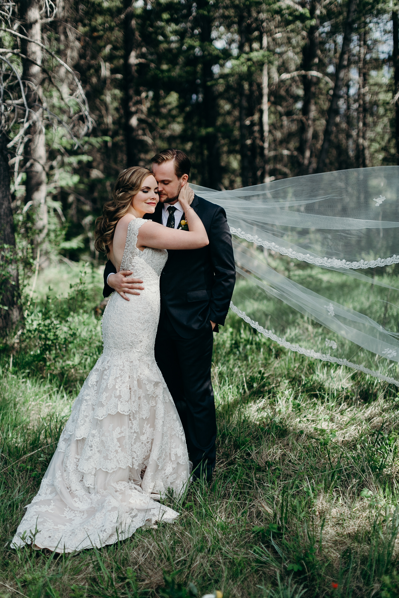 Bride and groom picture at Silvertip Resort destination wedding Canmore AB rocky mountains