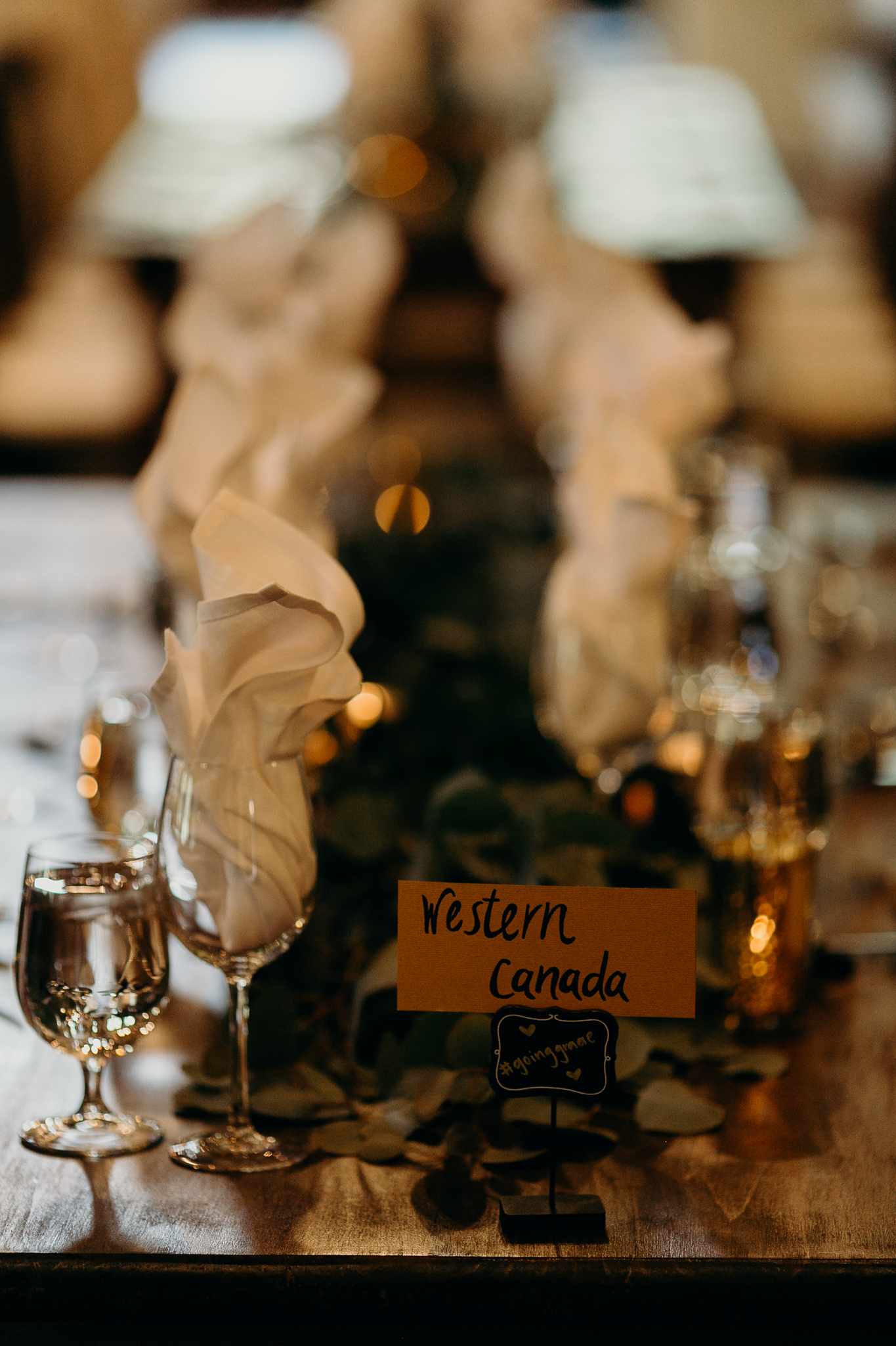 Wedding reception table setting at Silvertip Resort in Canmore Alberta destination wedding
