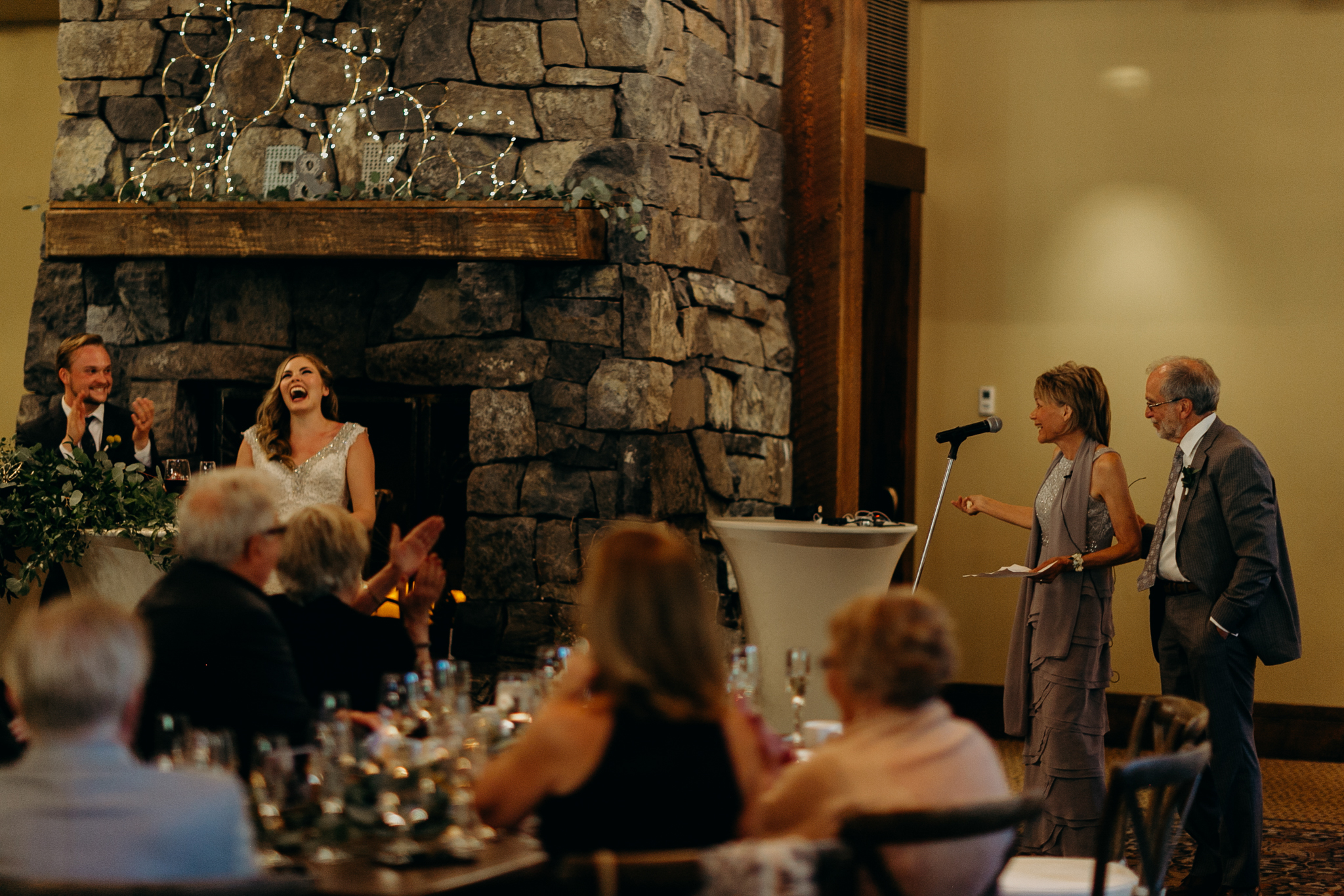Speech at Silvertip Resort wedding reception in Canmore Alberta