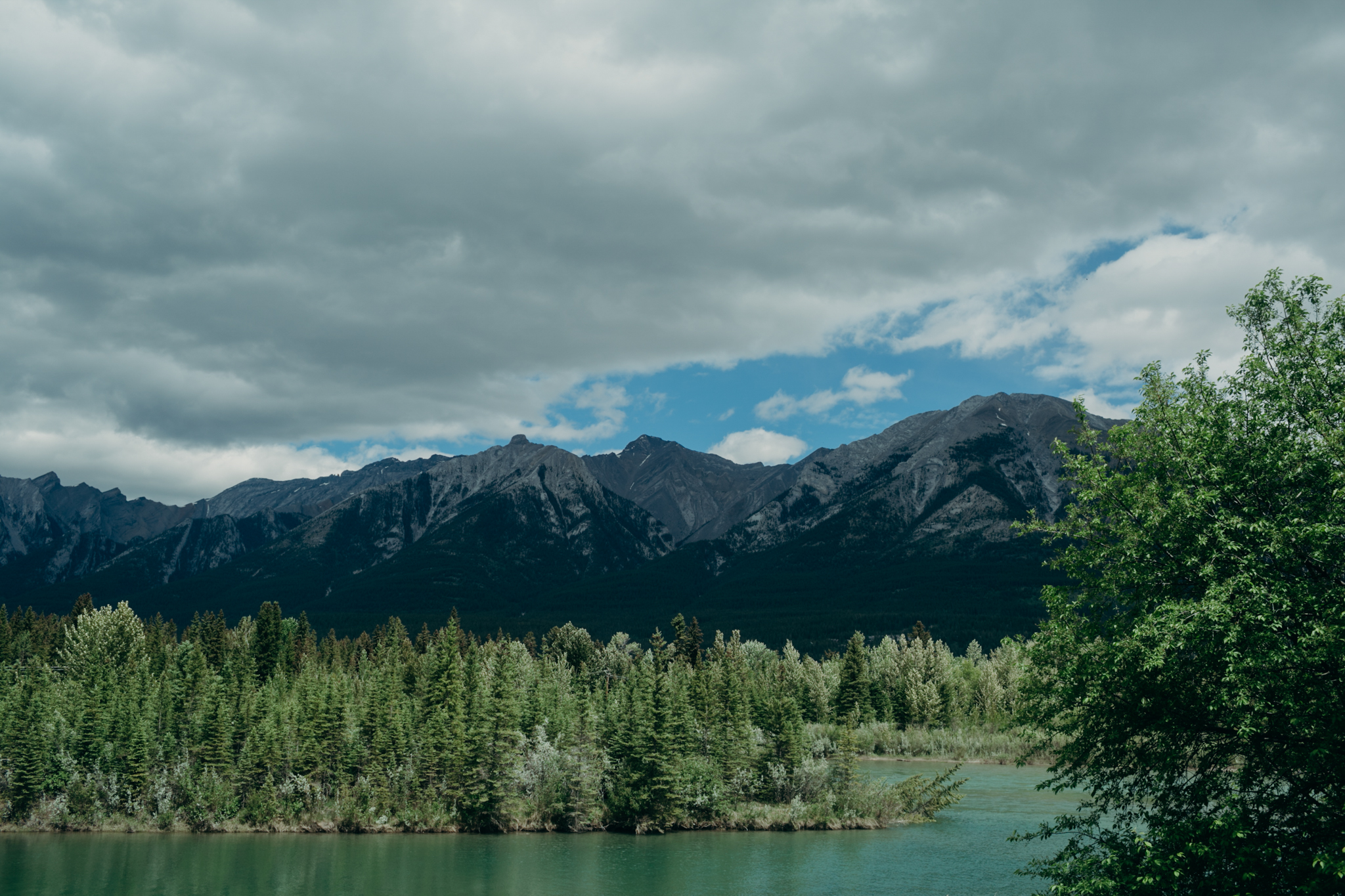 Picture of the Bow River in Canmore Alberta Canada Destination wedding photographer MN