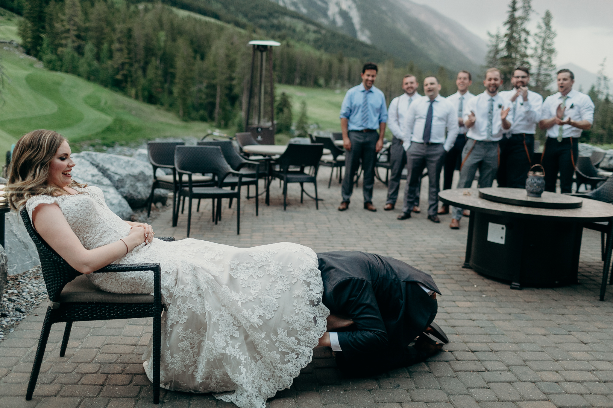 Wedding reception Silvertip Resort Canmore Alberta destination wedding photograph
