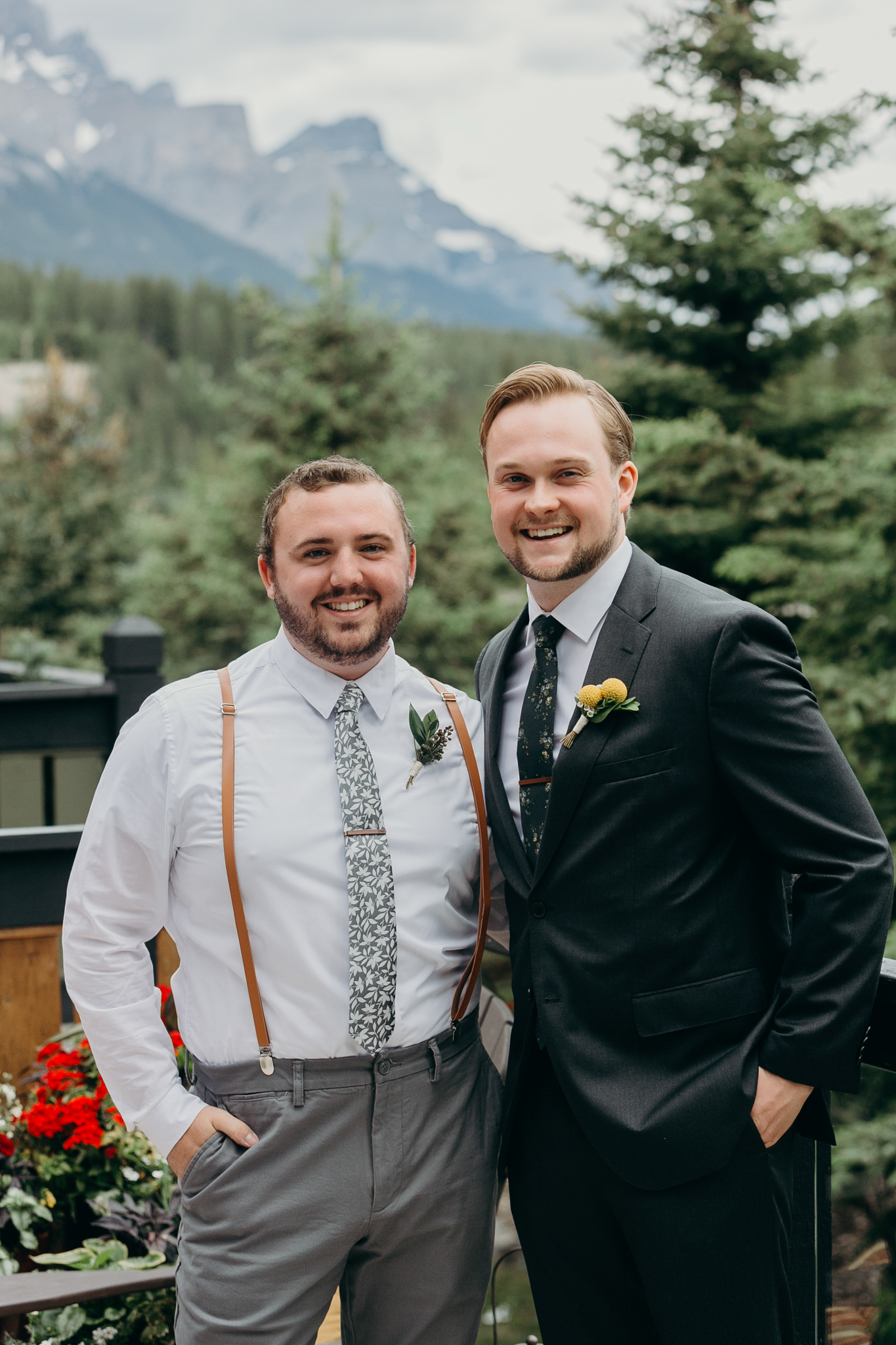 Groom and groomsman portrait smiling destination wedding photographer MN