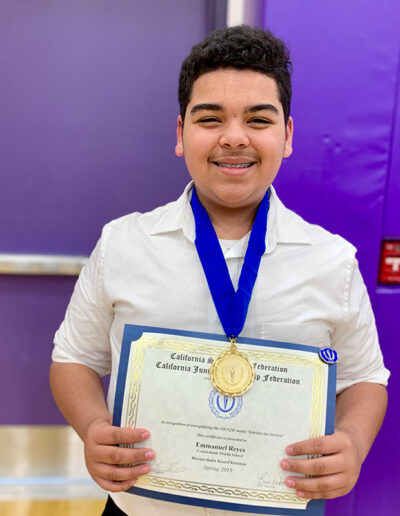 Emmanuel Reyes, Cruickshank Middle School Chapter 846, Adviser Wendy May