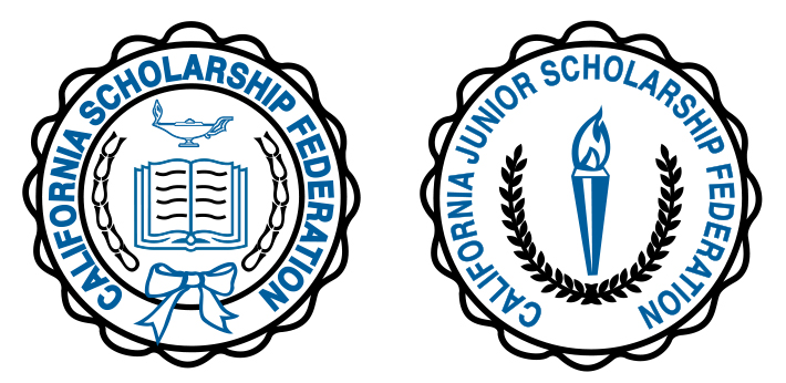 black and blue on white seals of California Scholarship Federation and California Junior Scholarship Federation