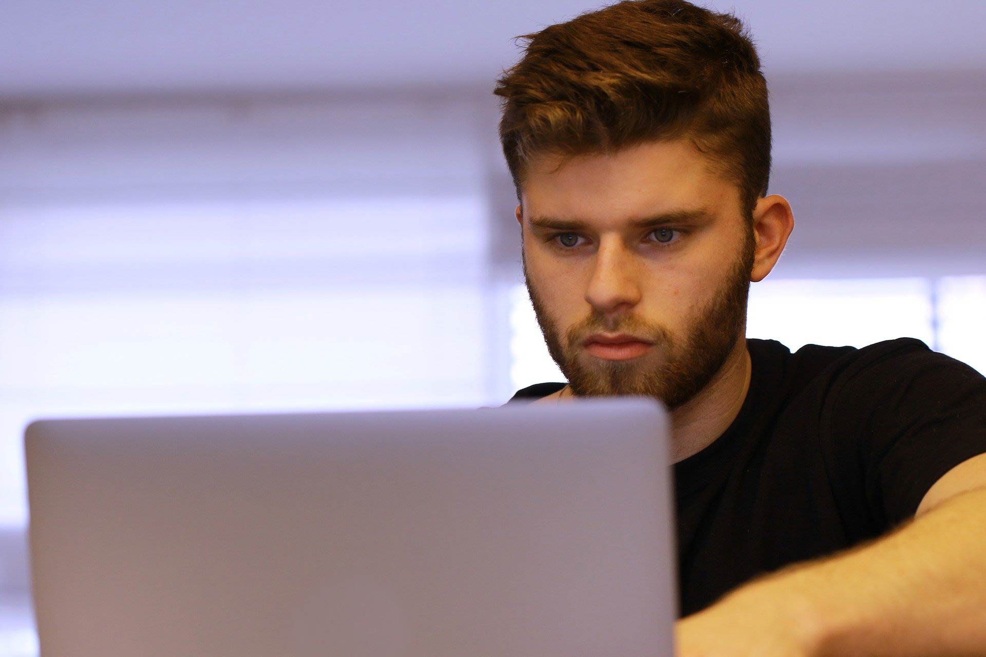 student at work on computer