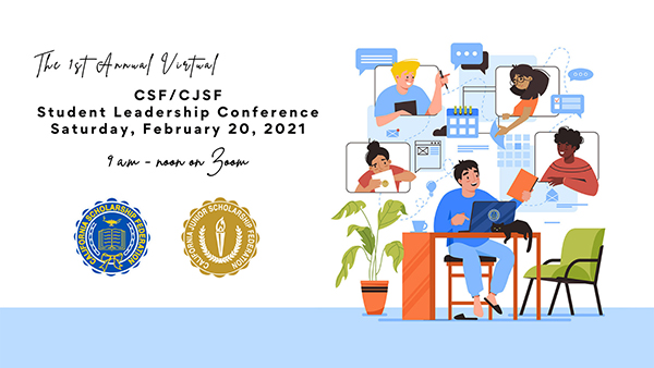 1st Annual Virtual CSF/CJSF Student Leadership Conference - cartoon of kids interacting online