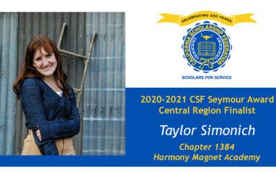 Taylor Simonich Seymour Award 2020-2021 Central Region Finalist