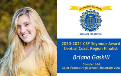 Briana Gaskill Seymour Award 2020-2021 Central Coast Region Finalist