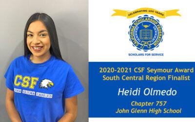 Heidi Olmedo Seymour Award 2020-2021 South Central Region Finalist