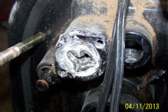 Mercruiser Bravo III water tube, completely collapsed by transom housing corrosion