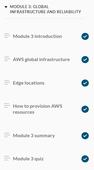 AWS Cloud Practitioner Essentials Course Navigation Pane