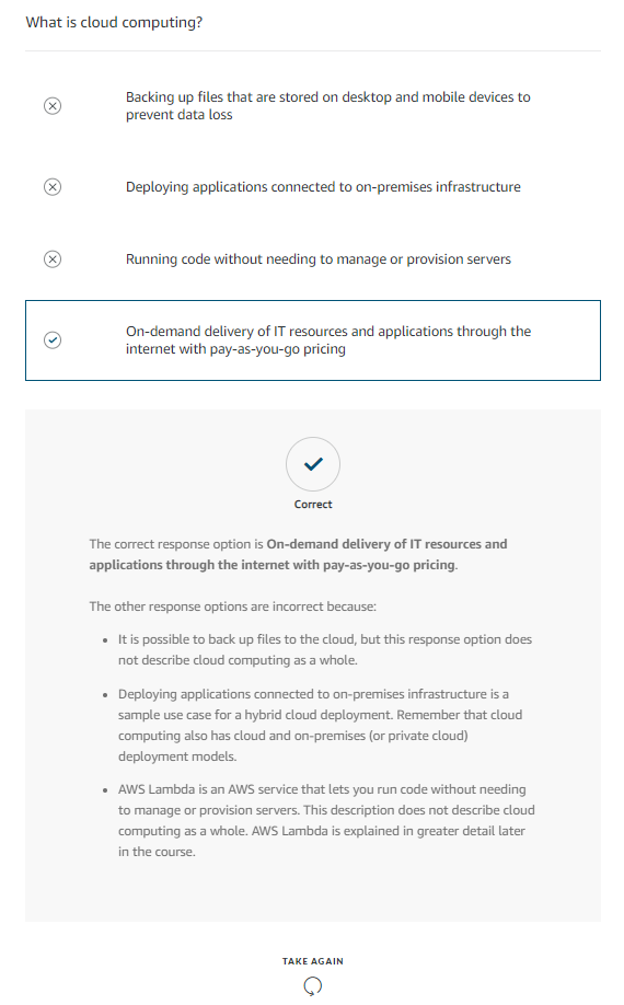Sample Cloud Computing Quiz within AWS Cloud Practitioner Essentials Training