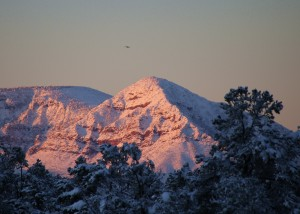 Snow Covered North Peak at Sunrise by Randy Cockrell