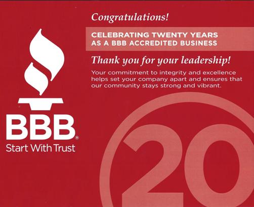 Better Business Bureau - 20 Years Accredited Business - Akron Ohio - A Jenkins Inc