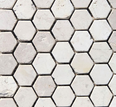 Mini Hex White Marble Tile