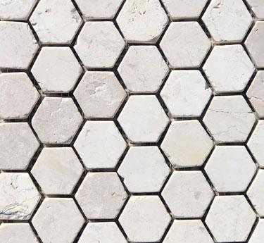 Mini Hex White Marble Tile