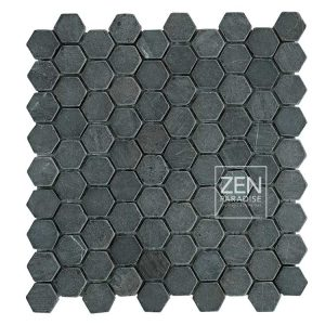 Zen Paradise Mini Hex - Dark Grey Marble tile