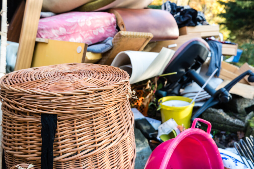 Junk removal items on the curb at a residential or commercial property