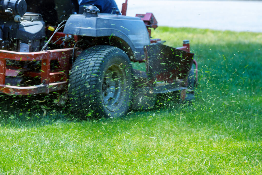 Property All landscaper mowing a commercial property