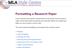Screenshot of The MLA Style Center Writing Resources from the Modern Language Association Website