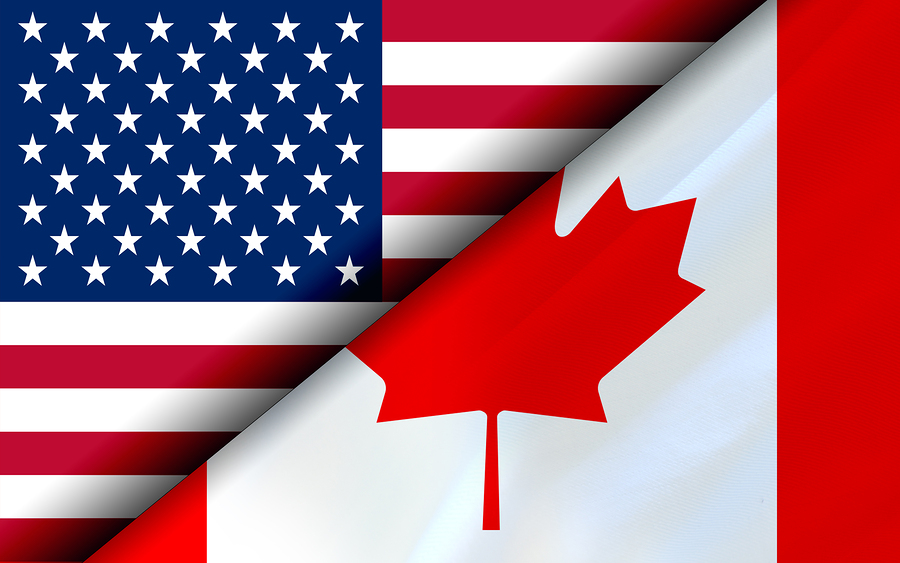 Flags Of The Usa And Canada Divided Diagonally. 3d Rendering