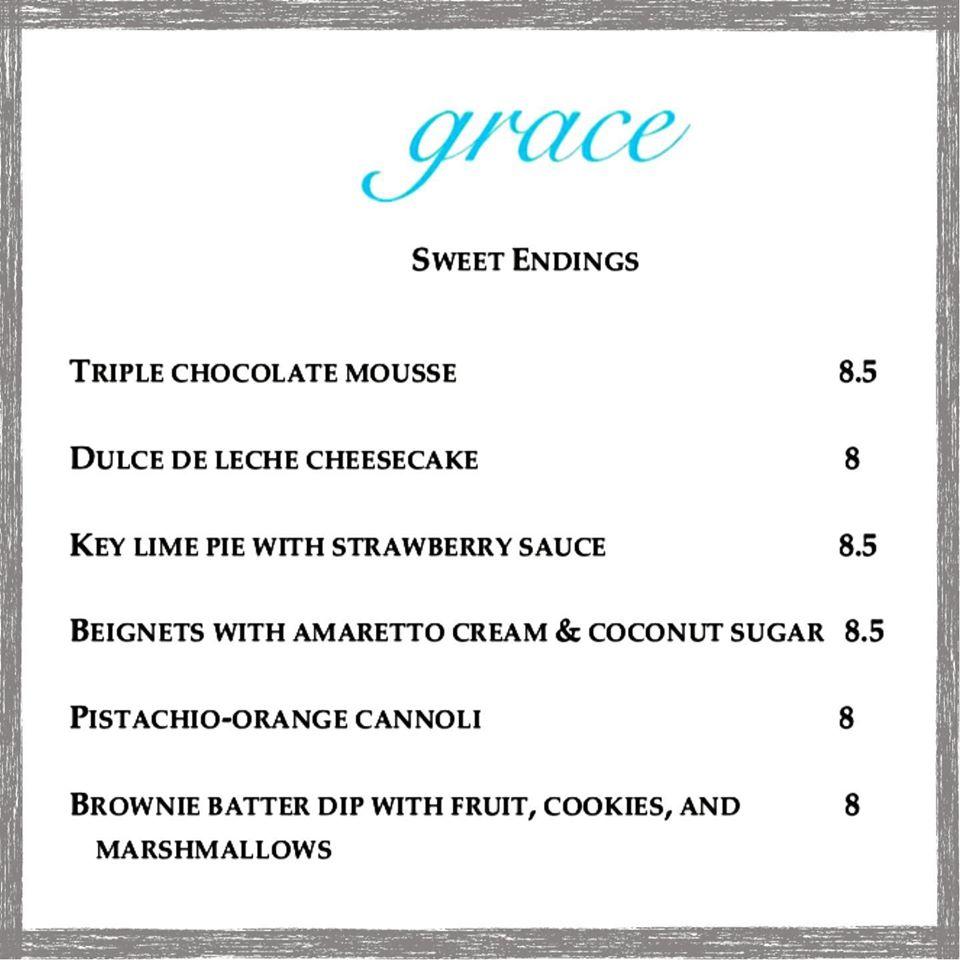 Grace Dessert Menu Additions March 11 - March 16 2020