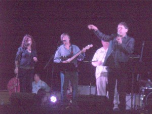 Kathi Kamen Goldmark, Dave Barry and Sam Barry perform with the Rock Bottom Remainders