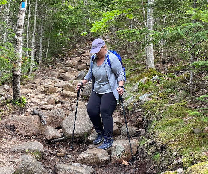 Hiking down the North Ridge Trail on Cadillac Mountain Acadia National Park