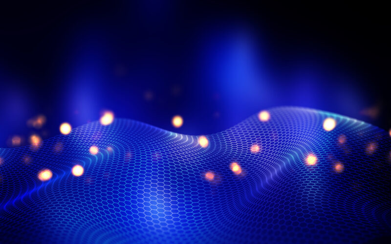 3D render of an abstract background with flowing hexagonal grid design